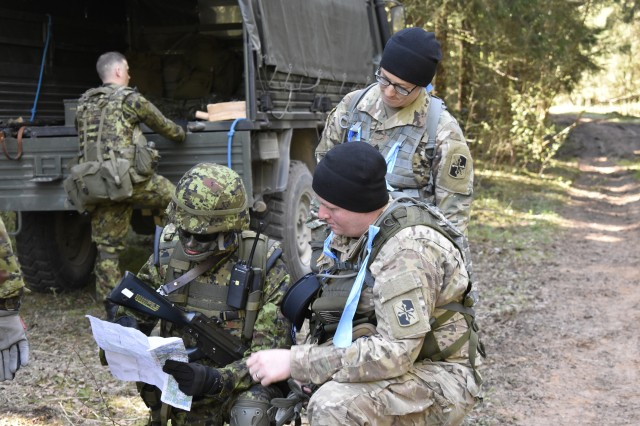 Estonian Defense Force personnel from 2nd brigade conduct recon and react to contact missions on May 6th during Exercise Hedgehog in Southern Estonia with Soldiers from the Maryland National Guard's 629th Expeditionary Military Intelligence Battalion. The MDNG members worked as observers and controllers for the EDF while celebrating their 25 year partnership in the State Partnership Program.