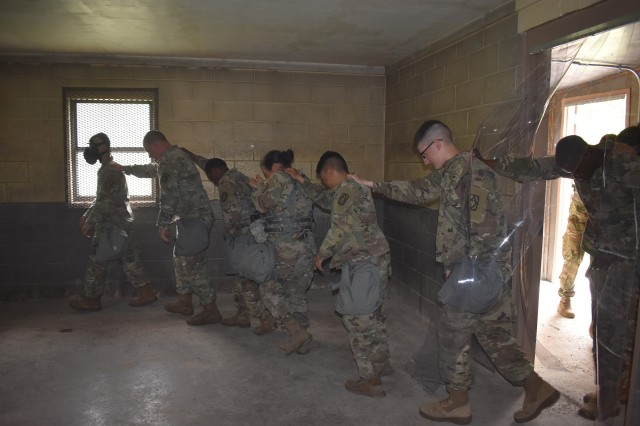 Headquarters and Headquarters Battery, 75th Field Artillery Brigade Soldiers file into a chemical biological radiological nuclear (CBRN) training building filled with tear gas for their annual CBRN training April 30, 2018 at Fort Sill, Okla.