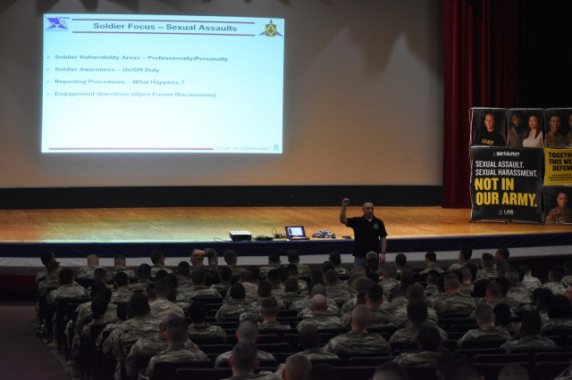 Sgt. 1st Class Richard Parrish, 75th Field Artillery Brigade sexual assault response coordinator, refreshes Soldiers' understanding of SHARP reporting procedures April 24, 2018, at the brigade's SHARP Summit at Fort Sill, Okla.