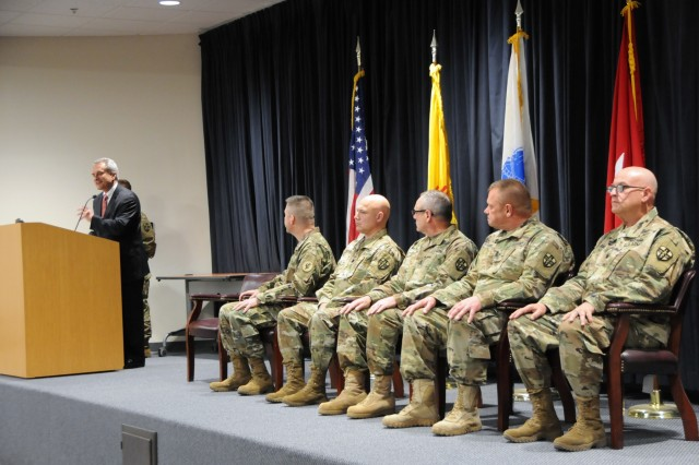 City Planning Department Director David Campbell, representing the Albuquerque Mayor's office, recognized the Soldiers assigned to 7251st Medical Support Unit and their families during a departure ceremony held for the Soldiers at the Phillips Center on Kirtland Air Force Base, New Mexico, April 22, 2018.
