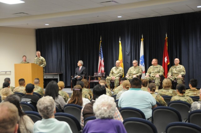 Brig. Gen. Howard Geck, an Albuquerque native and commanding general for 103rd Expeditionary Sustainment Command, recognized the Soldiers assigned to 7251st Medical Support Unit and their families during a departure ceremony held for the Soldiers at the Phillips Center on Kirtland Air Force Base, New Mexico, April 22, 2018.