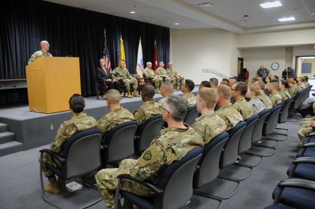 Lt. Col. William Mitchell, deputy commander for Western Medical Area Readiness Support Group, recognized the Soldiers assigned to 7251st Medical Support Unit and their families during a departure ceremony held for the Soldiers at the Phillips Center on Kirtland Air Force Base, New Mexico, April 22, 2018.