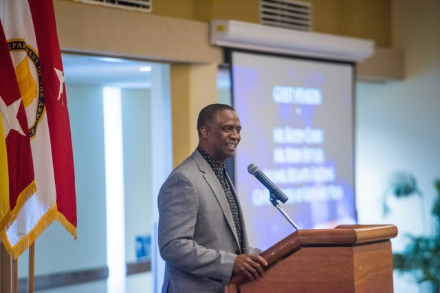 FORT BENNING, Ga. (May 10, 2018) -- Bobby Butler, former defensive back for the Atlanta Falcons football team, talks to Soldiers, Family members and civilians during a prayer breakfast. Former NFL players, Buddy Curry and Butler, served as guest speakers during the National Day of Prayer Observance, May 9 at the Benning Club located on post. The National Day of Prayer is an annual observance held in May inviting people of all faith to pray for the nation. (U.S. Army photo by Patrick A. Albright, Maneuver Center of Excellence, Fort Benning Public Affairs)