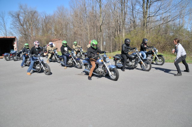 There are roughly 300 licensed motorcyclists currently within the 10th Mountain Division (LI) and that number is rising as Soldiers take advantage of the warmer weather to attend the free Motorcycle Safety Foundation training courses at Fort Drum. Soldiers began their first day on the Clark Hall range May 8 during the three-day Basic Rider Course.