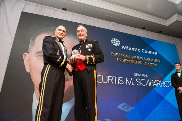 Army Gen. Curtis M. Scaparrotti received the Atlantic Council's Distinguished Military Leader Award during a ceremony in Washington, D.C., May 11, 2018.