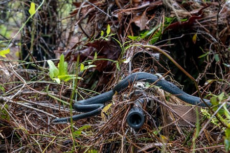 A black racer snake slithers across the rifle barrel held by an Army National Guard sniper as he practices woodland stalking in a camouflaged ghillie suit during an exercise at Eglin Air Force Base, April 7, 2018.