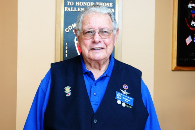 Edward Gilmore, a retired Army Ranger and aviator, works as a volunteer at the U.S. Army Aviation Museum greeting people and answering any questions they may have about the museum.