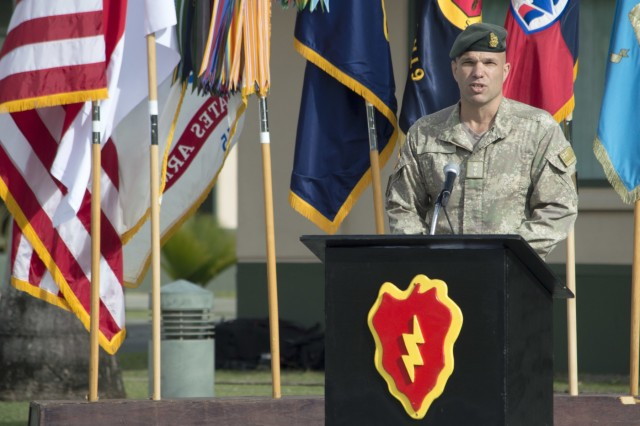 Col. Trevor J. Walker, New Zealand Defence Force and division deputy commander-interoperability, 25th Infantry Division, gives opening remarks during the opening ceremony of Tiger Balm 18 at the 298th Regiment, Multi-Functional Training Unit (MFTU), Regional Training Institute (RTI), Waimanalo, Hawaii, on May 14, 2018. Tiger Balm is an annual bilateral military exercise designed to enhance the professional relationship, combat readiness, and interoperability between the US and Singapore, and fulfill and demonstrate regional security partnership and resolve. (U.S. Army photo by Staff Sgt. Armando R. Limon, 3rd Brigade Combat Team, 25th Infantry Division)