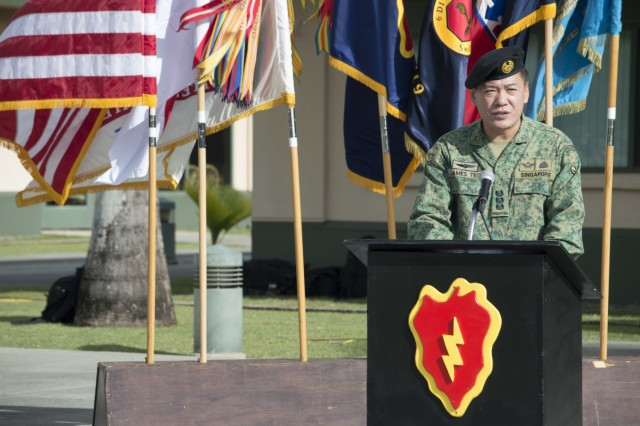 Col. Teo Wee Hong, chief of staff, 6th Division, Singapore Army, gives opening remarks during the opening ceremony of Tiger Balm 18 at the 298th Regiment, Multi-Functional Training Unit (MFTU), Regional Training Institute (RTI), Waimanalo, Hawaii, on May 14, 2018. Tiger Balm is an annual bilateral military exercise designed to enhance the professional relationship, combat readiness, and interoperability between the US and Singapore, and fulfill and demonstrate regional security partnership and resolve. (U.S. Army photo by Staff Sgt. Armando R. Limon, 3rd Brigade Combat Team, 25th Infantry Division)