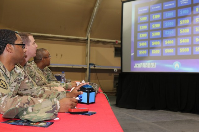 Best Cyber Ranger team competes in Cyber Jeopardy, Camp Arifjan, May 8. (Official Army Reserve Photo by: Maj. Andrew Benbow)