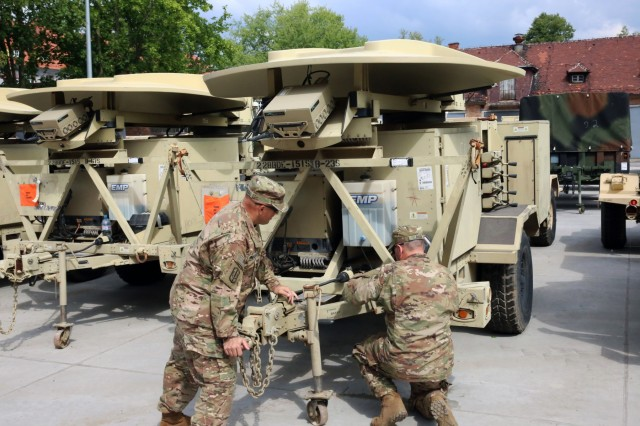 U.S. Soldiers assigned to Bravo Company, 151st Expeditionary Signal Battalion, 228th Theater Tactical Signal Brigade, South Carolina National Guard, inventory and conduct maintenance on a Satellite Transportable Terminal, May 15, 2018 in Boleslawiec, Poland. The company is on a nine-month deployment to Europe to support 2nd Theater Signal Brigade and U.S. Army Europe with additional tactical and strategic signal capabilities.