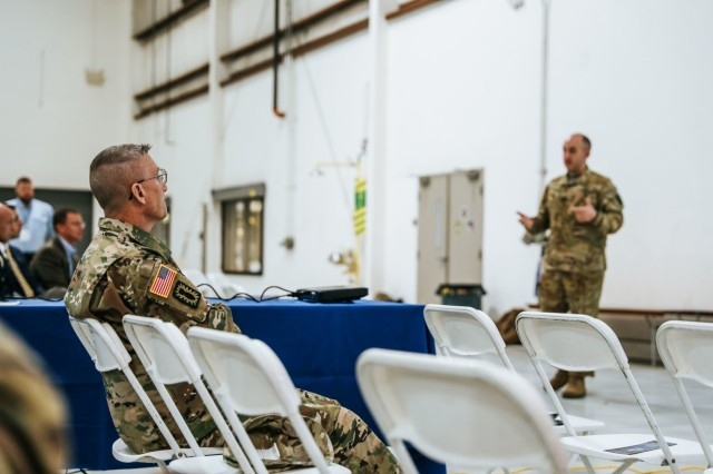 U.S. Army Col. Marty Muchow, 20th Chemical, Biological, Radiological, Nuclear, Explosives (CBRNE) Command Deputy Commander-Operations, sits in a key leaders brief during the Prominent Hunt 18-1 exercise at Burbank, Ca., on April 18, 2018. The Prominent Hunt 18-1 exercise brings in federal, state, and local agencies to confirm the oncoming 20th CBRNE Ground Collection Team as well as enable other Task Force members to conduct collective and individual training as part of the National Technical Nuclear Forensics (NTNF) Ground Collection Task Force (GCTF). (U.S. Army photo by Joseph Friend)