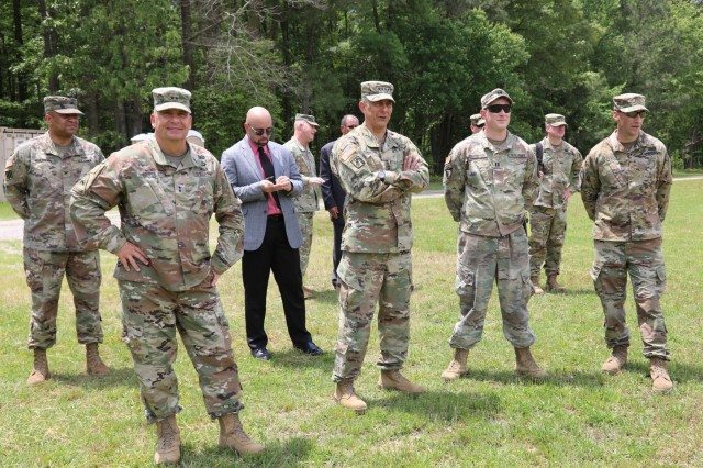 Gen. Stephen J. Townsend (second from left), commanding general, U.S. Army Training and Doctrine Command, Joint Base Langley-Eustis, Va., and Maj. Gen. Paul C. Hurley Jr., commanding general, U.S. Army Combined Arms Support Command (CASCOM) along with Army Logistics University instructors and leadership observe transportation Basic Officer Leadership Course lieutenants conduct a supply transfer at a logistics release point training event during a visit May 15 to U.S. Army Combined Arms Support Command, Fort Lee, Va.