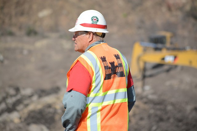A U.S. Army Corps of Engineers Los Angeles District employee looks out over the work at the Santa Monica Basin Feb. 27 in Santa Barbara County, California.