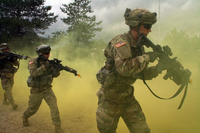 U.S. Soldiers joined State Partnership Program allies from Lithuania for MOUT site training during Exercise Iron Wolf as part of Saber Strike 17, June 14, 2017, near Pabrade, Lithuania.