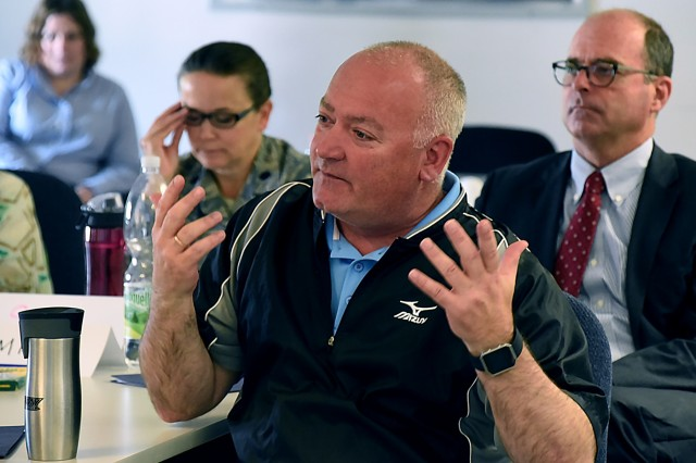 "GARMISCH-PARTENKIRCHEN, Germany (May 17, 2018) - John Heath, chief of Human Resources, Directorate of Business Operations, gives his insights during ""Resiliency"" training held at George C. Marshall European Center for Security Studies here May, 11. (Marshall Center photo by Christine June)"