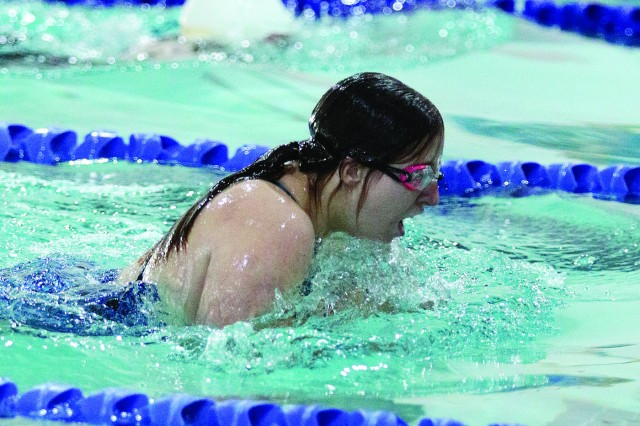 Special Olympians swim as part of the games - the 50th year Fort Jackson hosted the games.