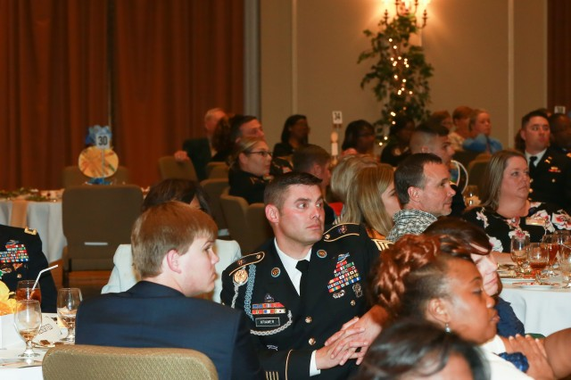 FORT BENNING, Ga. (May 17, 2018) -- Along with other community groups in the Columbus, Georgia, area, military units from Fort Benning, Georgia, received recognition for their work partnering with local schools during the 2018 Partners in Education Awards May 10, 2018, in downtown Columbus. (U.S. Army photo by Markeith Horace, Maneuver Center of Excellence, Fort Benning Public Affairs)