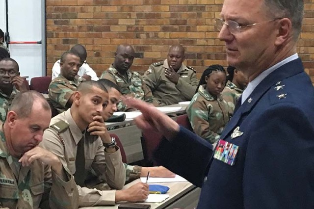 Major General Anthony German, the adjutant general of New York, meets with cadets at the Military Academy of South Africa in Saldanha, Western Cape Province, South Africa on May 8, 2018. German was speaking at the Academy as part of an exchange program executed as part of the New York National Guard State Partnership Program relationship with the South African National Defense Force.