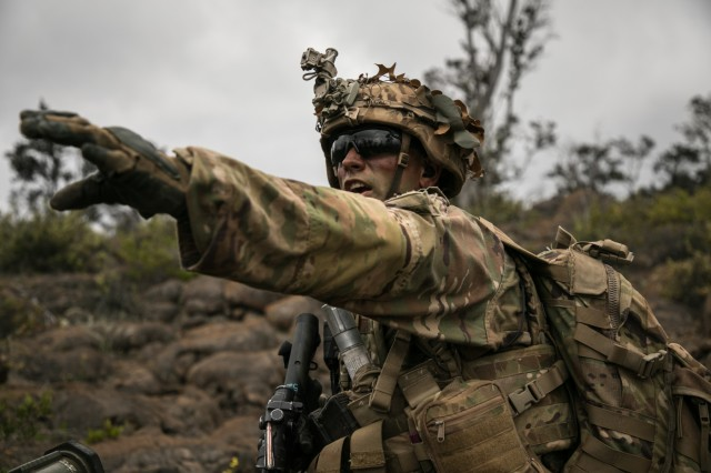 U.S. Army Trooper assigned to 2nd Squadron, 14th Calvary Regiment, 2nd Infantry Brigade Combat Team, 25th Infantry Division signals a movement direction during a Combined Arms Live Fire Exercise (CALFEX) at Pohakuloa Training Area, Hawaii, May 15, 2018. The CALFEX utilizes all the enablers available to the unit in order to increase interoperability, concentrate combat power and mass effects on the objective. (U.S. Army photo by 1st Lt. Ryan DeBooy)