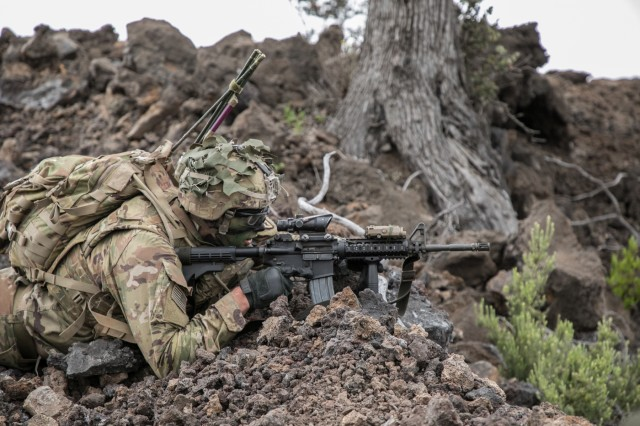 U.S. Army Trooper assigned to 2nd Squadron, 14th Calvary Regiment, 2nd Infantry Brigade Combat Team, 25th Infantry Division provides cover-fire during a Combined Arms Live Fire Exercise (CALFEX) at Pohakuloa Training Area, Hawaii, May 15, 2018. The CALFEX utilizes all the enablers available to the unit in order to increase interoperability, concentrate combat power and mass effects on the objective. (U.S. Army photo by 1st Lt. Ryan DeBooy)