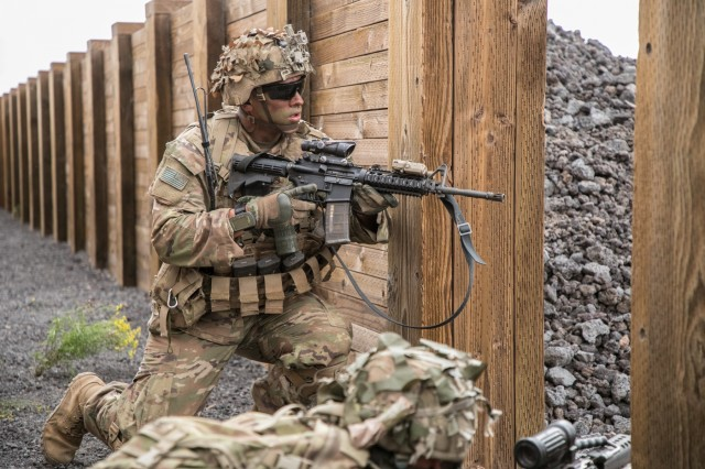 U.S. Army Troopers assigned to 2nd Squadron, 14th Calvary Regiment, 2nd Infantry Brigade Combat Team, 25th Infantry Division provide cover-fire during a Combined Arms Live Fire Exercise (CALFEX) at Pohakuloa Training Area, Hawaii, May 15, 2018. The CALFEX utilizes all the enablers available to the unit in order to increase interoperability, concentrate combat power and mass effects on the objective. (U.S. Army photo by 1st Lt. Ryan DeBooy)