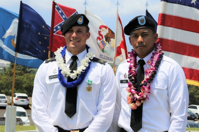 HONOLULU, Hawaii (May 17, 2018) - Regional Health Command-Pacific (RHC-P) Soldiers, Sgt. Noel Gonzalez (left), 18th Medical Command (Deployment Support) and Spc. Jan Leo Ras (right), Dental Health Command-Pacific are the winners of the region's premier competition, earning a designation as the command's finest Soldiers, demonstrating commitment to Army values, embodying the Warrior Ethos and representing the force of the future. During the three-day challenge, 17 Soldiers from across the command vied for the top spot, where their knowledge, skills and abilities were tested through urban warfare simulations, formal board interviews, physical fitness challenges, written exams and warrior tasks and battle drills.