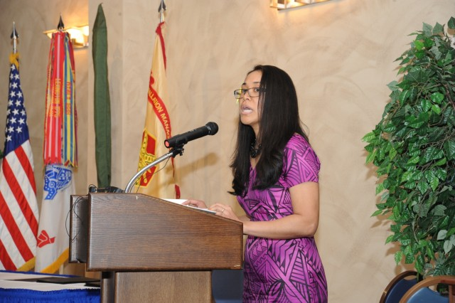 "Cpl. Naomi Sautia-Pomele, executive assistant to the commander of the 548th Combat Sustainment Support Battalion, 10th Mountain Division Sustainment Brigade, is a native of American Samoa and spoke about the theme of ""Unit Our Vision By Working Together"" during the Asian American and Pacific Islander Heritage Month Observance on May 16 at Fort Drum, New York."