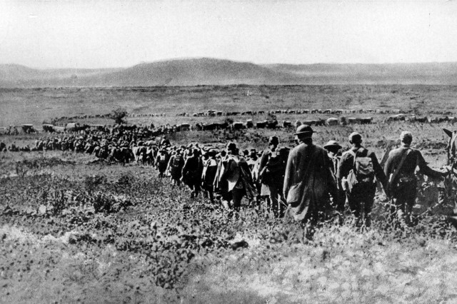 The U.S. First Army moves forward to its first offensive of World War I at the St. Mihiel salient, September 1918. (Library of Congress)