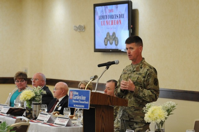 Brig. Gen. Patrick J. Donahoe, 10th Mountain Division (LI) and Fort Drum deputy commanding general, addresses the audience May 15 at the Armed Forces Day Luncheon in Watertown, New York.
