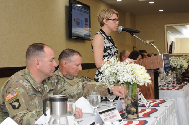 Kylie Peck, GWNC Chamber of Commerce president and chief executive office, thanks all the sponsors, community members and 10th Mountain Division (LI) Soldiers for attending the annual Armed Forces Day Luncheon on May 15 in Watertown, New York.