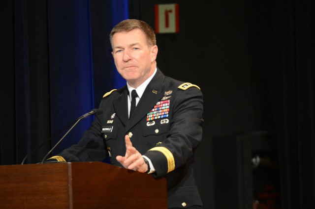 Vice Chief of Staff of the Army Gen. James C. McConville speaks at the Army Communities of Excellence Awards ceremony at the Pentagon, May 18, 2018.