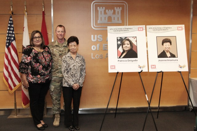 The U.S. Army Corps of Engineers Los Angeles District inducted two retired employees into its Gallery of Distinguished Civilian Employees in a ceremony May 15 at the District headquarters in Los Angeles. Former Executive Assistant Patsy Delgado and former Executive Secretary Jeanne Imamura were this year's inductees. The induction was in conjunction with the District's annual Retiree Recognition Day. More than three dozen retirees participated in the day's activities, which included a breakfast social, commander's update and catered lunch.