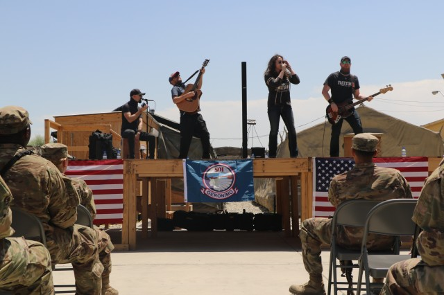 The Rachel Lipsky Band performs for Soldiers at Tactical Base Fenty, Afghanistan, May 7, 2018 as part of a six-day tour throughout the region. (U.S. Army photo by Staff Sgt. Chris Perkey, 1st Stryker Brigade Combat Team, Public Affairs)