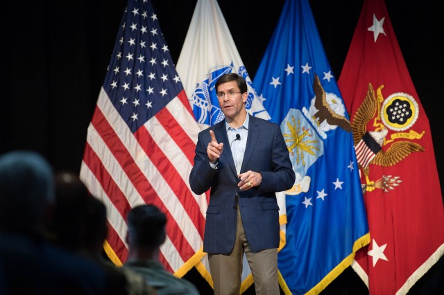 Secretary of the Army Dr. Mark T. Esper conducts a town hall at Jacobs Theater on Joint Base Langley-Eustis, Virginia, May 18, 2018, where he addressed questions from Fort Eustis employees and their family members. The town hall was part of Esper's visit to U.S. Army Training and Doctrine Command, where he met with senior TRADOC leaders, did physical training, visited the Army Capabilities Integration Center, met with junior spouses, observed Army watercraft training and 128th Aviation Maintainer Advanced Individual Training.