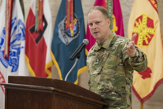 Maj. Gen. Duane Gamble, commanding general of the U.S. Army Sustainment Command and senior mission commander of Rock Island Arsenal, provides opening remarks during a Mental Health Awareness Observance May 17, Heritage Hall, Rock Island Arsenal, Illinois.