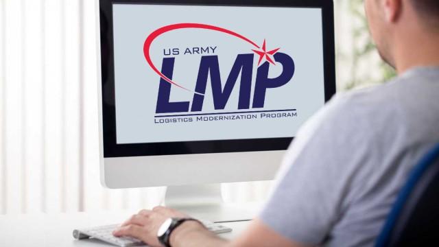 Man at computer with LMP logo