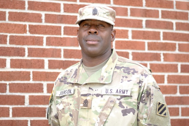 Sgt. Maj. Eugene Johnson, operations sergeant major for 3rd Infantry Division Artillery, poses for a photo at Fort Stewart, Ga., May, 15, 2018. Johnson is a Detroit native who is retiring from the United States Army after 32 years of service. (U.S. Army photo by Staff Sgt. Sierra A. Melendez, 50th Public Affairs Detachment, 3rd Infantry Division public affairs)