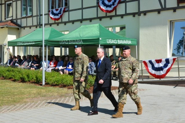From left, Col. Lance Varney, Michael D. Formica, region director, Installation Management Command Europe, and Lt. Col. Gregory Scrivens. Varney relinquished command May 22 at U.S. Army Garrison Bavaria headquartered in Grafenwoehr, Germany. Scrivens will take on the responsibilities as the interim garrison commander until the new commander, Col. Adam Boyd, arrives in late June.
