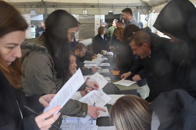 Human resource specialists assigned to the Civilian Personnel Advisory Center assist hundreds of individuals during a job fair hosted by Tobyhanna Army Depot.