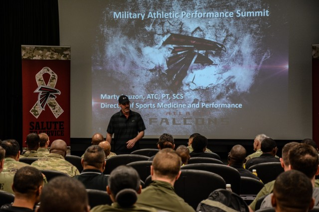 FORT BENNING, Ga. (May 22, 2018) -- Soldiers from Fort Benning, Georgia, attend the Atlanta Falcons' Human Performance Summit May 18 at the Falcons' training camp in Flowery Branch, Georgia. The summit was opened to the various services and introduced the service members to the total athlete concept and how they could incorporate those principles in their prospective organizations. (U.S. Army photo by Megan Garcia, Maneuver Center of Excellence, Fort Benning Public Affairs)