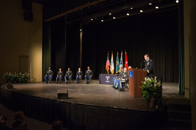 COLUMBUS, Ga. (May 21, 2018) -- Brig. Gen. Christopher T. Donahue, U.S. Army Infantry School commandant at the Maneuver Center of Excellence and Fort Benning, Georgia, administers the oath of office to five newly commissioned officers during the Columbus State University Reserve Officers Training Corps spring commissioning ceremony, May 18 in Columbus, Georgia. (U.S. Army photo by Patrick A. Albright, Maneuver Center of Excellence, Fort Benning Public Affairs)