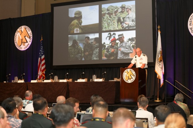 """nding General Robert B. Brown, U.S. Army Pacific, began LANPAC with a loud """"Aloha,"""" as he welcomed participants to the three-day symposium and exposition. People from around the world gather in downtown Honolulu to take part in the sixth annual Association of the United States Army (AUSA) Land Forces of the Pacific (LANPAC) Symposium May 22 through May 24."""