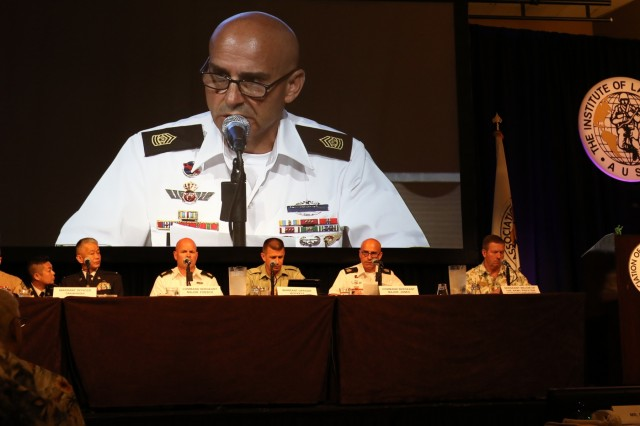 U.S. Army Pacific, Command Sgt. Maj. Benjamin Jones, leads a panel discussion at the sixth annual Association of the United States Army (AUSA) Land Forces of the Pacific (LANPAC) Symposium May 22, Honolulu.