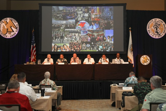 Leaders conduct the first panel discussion of the day at the sixth annual Association of the United States Army (AUSA) Land Forces of the Pacific (LANPAC) Symposium May 22, Honolulu. The discussion, Assessing Shared Regional Security Challenges and Opportunities, was the first of eight panels scheduled at the three-day professional development forum.