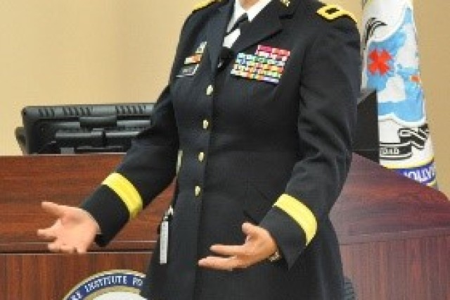FORT BENNING, Ga. (May 23, 2018) -- Brig. Gen. Dustin Shultz, commanding general of 1st Mission Support Command at Fort Buchanan, Puerto Rico, and Western Hemisphere Institute for Security Cooperation's first student to become a general officer, was in Puerto Rico when Hurricane Maria struck. As the senior federal officer in the Caribbean and as commanding general of the 1st Mission Support Command, she was a first responder in the recovery efforts and share the challenges of the recovery and lessons learned from it. WHINSEC's Command and General Staff Officer Course students heard from experts recently about the current operational environment they will step into when they graduate in May. (U.S. Army photo by WHINSEC Public Affairs)