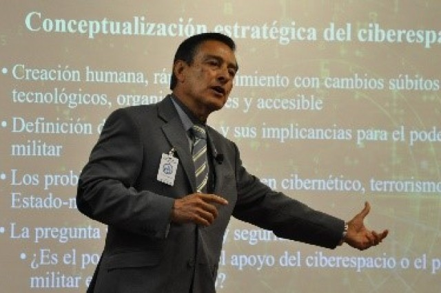 FORT BENNING, Ga. (May 23, 2018) -- Dr. Boris Saavedra, Perry Center for Hemispheric Defense Studies, discusses the urgency of developing strategies for cyber warfare immediately with students in the Command and General Staff Officer Course at Western Hemisphere Institute for Security Cooperation. WHINSEC's Command and General Staff Officer Course students heard from experts recently about the current operational environment they will step into when they graduate in May. (U.S. Army photo by WHINSEC Public Affairs)