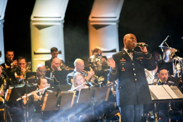 Spc. Joseph Leveston, a vocalist with the Army Materiel Command Band, sings during the 2017 Holiday Concert in Huntsville, Ala.