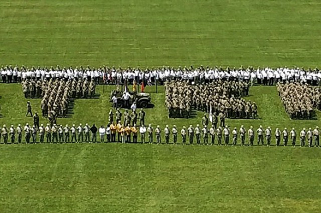 An aerial view of the Fort Knox centennial photo taken high up in a crane May 23, 2018.
