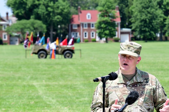 Brig. Gen. John Evans, commanding general of U.S. Army Cadet Command and Fort Knox, opened the centennial ceremony May 23, 2018, with remarks about how Fort Knox's past is linked to its present.